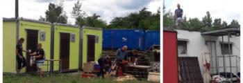 Maľovanie unimobuniek, rezanie dreva, montáž novej strechy na karavan